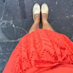 Tangerine dress from @despetitshauts and old golden Espadrillas from @espadrij #oneoutfitaday
