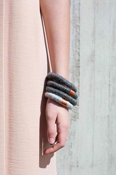 wool and copper bracelets