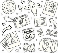 A collection of travel-themed doodles. Travel and doodles royalty free vekt . - A collection of travel-themed doodles. Travel and Doodles royalty-free stock vector art This image - Doodle Drawings, Easy Drawings, Doodle Doodle, Doodle Sketch, Travel Doodles, Bujo Doodles, Free Doodles, Easy Doodles, Planner Doodles