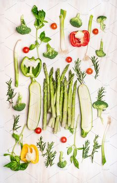Various green vegetables flat lay  by VICUSCHKA on @creativemarket