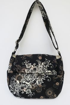 Brown Black Tan Floral Purse, Cross Body Adjustable Strap, Tote Bag, Outside…