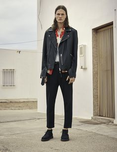 AllSaints Men's May Lookbook Look 2: Faxley Crew T-shirt, Tsuru Short Sleeve Shirt, Kahawa Leather Biker, Tallis Trouser, Juno Boot