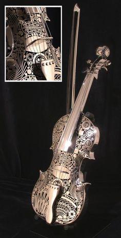 Incredible metal violin / Violon fantastique via Musical Melody Piano Y Violin, Violin Art, Violin Music, Violin Instrument, Piano Keys, Zentangle, Musica Celestial, Cool Violins, Mundo Musical