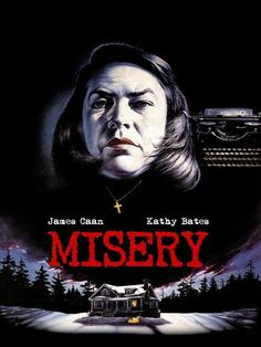 Misery (1990) R 107 minutes  Former nurse Annie Wilkes (Kathy Bates) saves her idol, romance novelist Paul Sheldon (James Caan), after he crashes his car during a blizzard. But when she learns he plans to kill off her heroine in his next volume, Annie morphs from nurturing caregiver to sadistic jailer.  Cast:     James Caan, Kathy Bates, Richard Farnsworth, Frances Sternhagen, Lauren Bacall