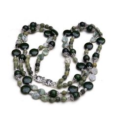 "Long Statement Double Strand Infinity Necklace, Sage Dark Green Silver Earth Colors, 32"", Semiprecious Natural Stone Beads, Handmade Unique by ALFAdesigns on Etsy https://www.etsy.com/listing/115221750/long-statement-double-strand-infinity"