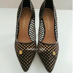 """(Like New) Louis Vuitton Cabaret pump Fabulosity at it's best! Worn once. The Cabaret pump has a sheer Damier Ebene pattern accented with mini gold Louis Vuitton-stamped plaques.   3.5"""" covered heel. There is a very minor nick on the bottom right heel shaft seen in pic 4. The heel caps are in excellent condition & exterior soles minimal wear. Original box available but is a little damaged. Date code posted in pic 2 collage BR1013 Louis Vuitton Shoes Heels"""