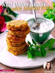Red Onion Bhajis with Minted Raita, by Lee Holmes