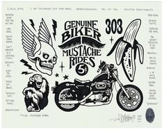 """""""Mustache Rides"""", permanent marker and graphite on fine drawing paper, Available now at Black Book Gallery. Dessin Old School, Mike Giant, Spooky Tattoos, J Dilla, Biker Tattoos, Sketching Techniques, Lowbrow Art, Black Books, Black And White Illustration"""