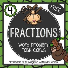 16 fraction word problem task cards- FREE!