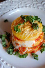 Blogging Foods: 20 Minutes to Dinner - Baked Polenta Layered with Fresh Mozzarella, Marinara Sauce and Basil