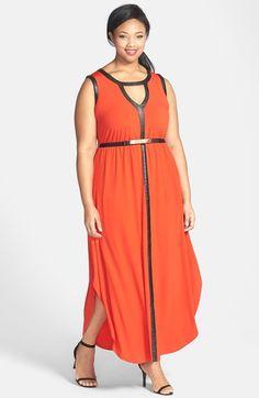 City Chic 'Grecian' Faux Leather Trim Keyhole Maxi Dress