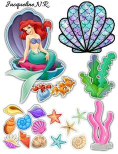 Little Mermaid Cake Topper, Ariel The Little Mermaid, Mermaid Birthday Cakes, Birthday Cake Toppers, Ariel Cake, Printable Stickers, Birthday Party Decorations, Paper Crafts, Prints
