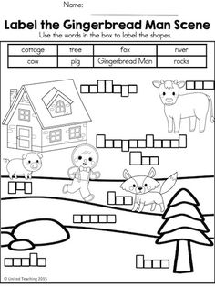 Label the Gingerbread Man Scene. Part of the Gingerbread No Prep Activities packet.