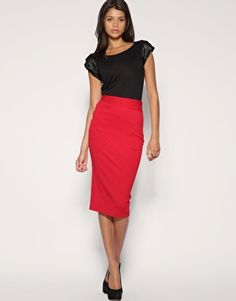 Red Pencil Skirt. Pop of Color. Love it.