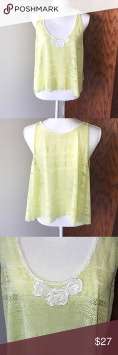  Free People Yellow Shear Lace Tank Top EUC  Women's size S/P. This tank is stretchy, but it's meant to float. All reasonable offers considered.  Free People Tops Tank Tops