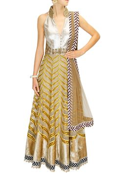 Gold and silver anarkali set with yellow applique work by JJ Valaya. Shop now: www.perniaspopupshop.com. #jjvalaya #clothing #designer #shopnow #happyshopping #perniaspopupshop