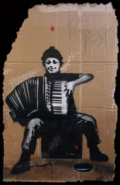 #jefaerosol - L'accordeoniste - Spraypaint and stencil on cardboard Available at the gallery #frenchartstudio