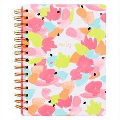 Medium Spiral Notebook - All Over Floral, Neon