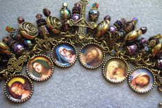 Handmade Catholic Virgin Mary Charm Bracelet by wandamariadesigns