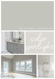 Sherwin Williams Light French Gray: Color Spotlight Sherwin Williams Light French Gray is one of the most versatile neutral paint colors out there because it works well in a variety of lighting situations. Paint Colors For Home, Bathroom Colors, French Grey, Gray Paint Colors Sherwin Williams, Room Colors, Gray Cabinet Color, Light Gray Paint, Living Room Paint, Home Decor
