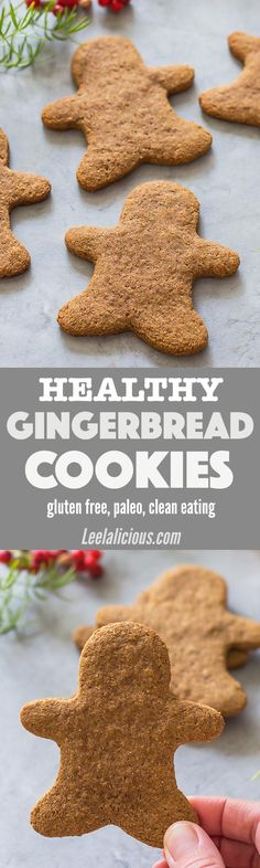 These Healthy Gingerbread Cookies are gluten free, paleo and clean eating! The dough even holds up to making gingerbread man cookie cut outs. With this recipe no one has to miss out on Christmas baking anymore. Holidays | Easy | Desserts | Families | Almond Flour