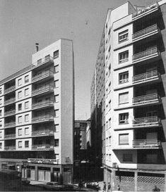 asaje comercial construido al derribar una fábrica, en el Ensanche de León, 1973.