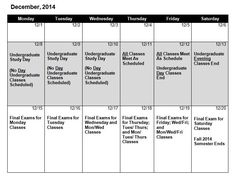 Fall 2014 Final Exam Schedule