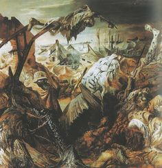 """""""The Trench"""", by Otto Dix, Dix's work drew on Expressionism and DaDa to draw ruthless, harsh depictions of trench warfare and Weimar society. Max Beckmann, Wassily Kandinsky, Ww1 Art, George Grosz, Harlem Renaissance, Art Moderne, Art For Art Sake, Art Graphique, World War I"""