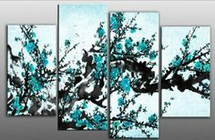 Large plum blossom painting Turquoise Blue Chinese canvas artwork 4 pieces multi panel split canvas completely ready to hang hanging cord at...
