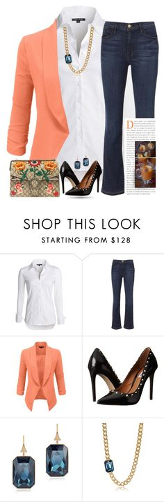 """""""Happy Friday!"""" by easy-dressing ❤ liked on Polyvore featuring NIC+ZOE, Frame Denim, LE3NO, Steve Madden and Rebecca"""