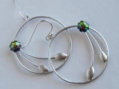 Seedling Floral Earrings Emerald and Sapphire by LadyInPurple, $13.00