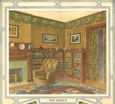"""Arts & crafts living room scene in Hobbs wallpaper company 1914 catalog. Featured pattern """"the jungle"""" with coordinating fabric in doorway. Craftsman Interior, Craftsman Style, Interior Trim, Craftsman Bungalows, Craftsman Houses, Wallpaper Companies, Bungalow Interiors, Vintage House Plans, Second Empire"""