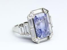 Natural Purple Sapphire, Diamond and Platinum Ring