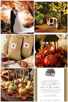 Rustic fall wedding ideas Links to so many wedding pics unrelated Love the centerpieces, the caramel apples on leaves, etc