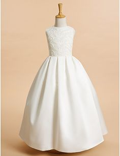 Lanting Bride A-line Ankle-length Flower Girl Dress - Lace / Satin Sleeveless Jewel with Lace   4412279 2016 –  $69.99
