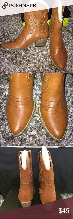 """Brown/Tan Cowgirl Boots SIZE 8.5 Brand new in box. Never worn only tried on. Heel 2"""". Boot shaft 8"""" Very Volatile Shoes Ankle Boots & Booties"""