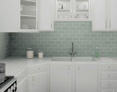 3x6 Gl Subway Tiles Daltile Whisper Green White Cabinets Tile