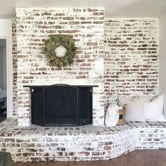 5 Easy Cool Tips: Livingroom Remodel How To Build living room remodel on a budget tips.Living Room Remodel On A Budget People living room remodel with fireplace bookshelves.Living Room Remodel With Fireplace Benjamin Moore. Brick Fireplace Makeover, Fireplace Ideas, Fireplace Brick, Small Fireplace, Farmhouse Fireplace, White Washed Fireplace, Distressed Fireplace, Fireplace Glass, Brick Hearth