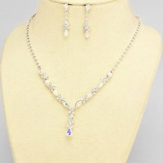 Silver and AB Rhinestone Evening Necklace Set