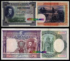 Spain banknotes - Spain paper money catalog and Spanish currency history