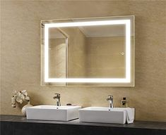 LEDMyplace LED Bathroom Lighted Mirror Inch, Lighted Vanity Mirror Includes Defogger, Touch Switch Controls LED Light with On-Off and CCT Remembrance, ETL Listed, Aluminium Structure Backlit Mirror, Led Mirror, Mirror With Lights, Led Bathroom Lights, Bathroom Lighting, Bathroom Mirrors, Bathroom Ideas, Bathrooms, Bathroom Inspo