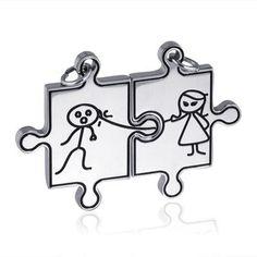 Ocelové partnerské přívěšky Puzzle Ona a On Puzzle, Design, Puzzles, Puzzle Games, Riddles
