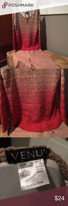 Venus open weave sweater (Sz Med) 💋Cute💋 Ombré tannish down to light rise to dark pink to kinda a fuchsia pink. Fabric silk Ribbon  texture. Measurements: Venus of Cortland Tops Tees - Long Sleeve