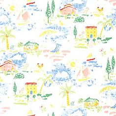 Vacation #wallpaper in #brights on #white from the Boat House collection. #Thibaut