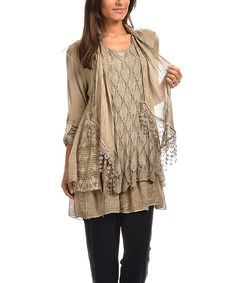 Beige Embroidered Layered Tunic & Scarf