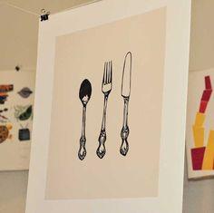 Spoon Fork and Knife Cutlery Silverware Linocut Block Print on Etsy, $17.99