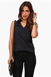 Rouge Collared Top in Black