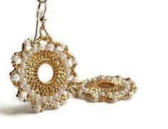 Bridal Earrings 24  Karat Gold Plated  Beads and  Pearls  Romantic  Handmade Mandala  Beadwork Jewelry.