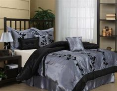 Wendy-7 Piece Bed Ensemble Comforter Set Queen Size by NANSHING. $69.99. Dry clean only Face:100% polyester Back:100% polyester Fill:100% polyester. Beautiful 7 Pieces Floral Comforter Set       Style: Wendy     Size: Queen     Condition: Brand New     Design: Flowers     Main Color: Black / Gray     Material: Polyester