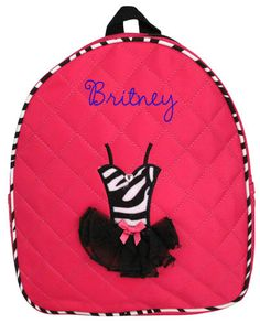 $5.75 Fuchsia Quilted Ballerina Zebra Tutu Backpack (Shown with Optional Personalization)